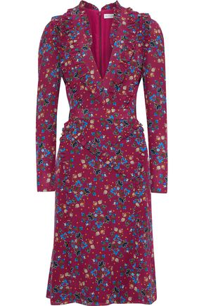 ALTUZARRA Ruffle-trimmed floral-print silk crepe de chine dress