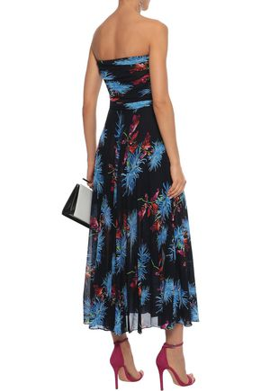 47fd6de21533 ... DIANE VON FURSTENBERG Strapless pleated floral-print stretch-mesh midi  dress