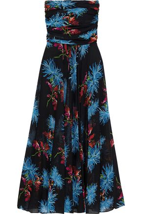 6c8f4e3f1db5 DIANE VON FURSTENBERG Strapless pleated floral-print stretch-mesh midi dress  ...