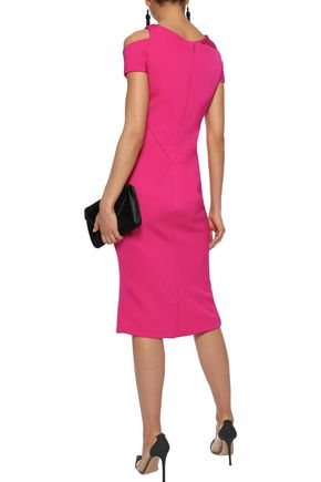 ZAC POSEN Cold-shoulder stretch-ponte dress