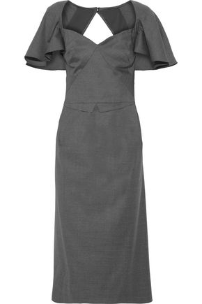 ZAC POSEN Cutout ruffled wool midi dress