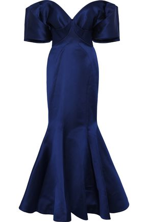 ZAC POSEN Off-the-shoulder fluted duchesse-satin gown