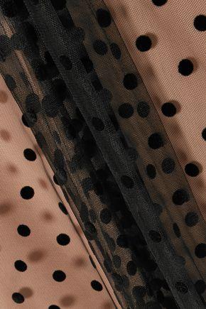 COSTARELLOS Pussy-bow polka-dot flocked tulle blouse