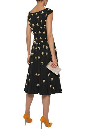 ZAC POSEN Embellished pleated crepe midi dress