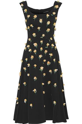 ZAC POSEN Embellished pleated crepe midi dress