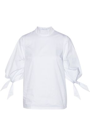 PAPER London Rose gathered stretch-cotton poplin blouse