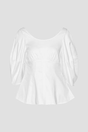 PAPER London Salt Lake stretch-cotton poplin peplum blouse