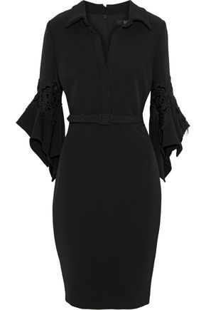 BADGLEY MISCHKA Belted flocked lace-appliquéd cady dress