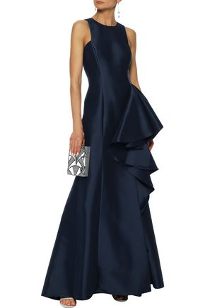 BADGLEY MISCHKA Ruffled duchesse-satin gown