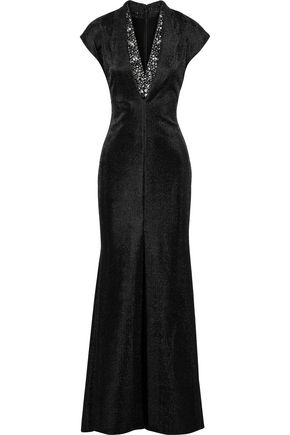 BADGLEY MISCHKA Embellished metallic woven gown