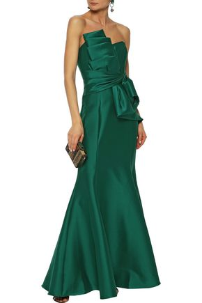BADGLEY MISCHKA Strapless gathered ruffled duchesse-satin gown