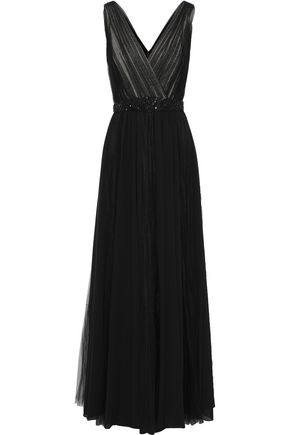 BADGLEY MISCHKA Embellished pleated tulle and chiffon gown
