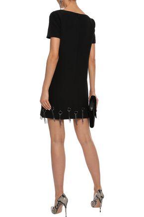 BADGLEY MISCHKA Eyelet-embellished crepe mini dress