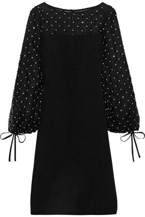 BADGLEY MISCHKA Embellished Swiss-dot tulle-paneled cady dress