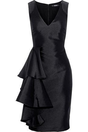 BADGLEY MISCHKA Ruffled satin-twill dress