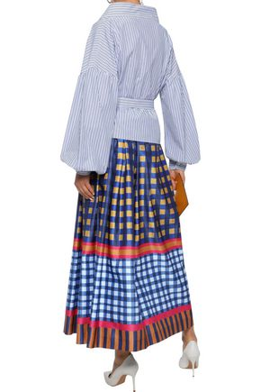 STELLA JEAN Belted striped cotton-poplin wrap blouse