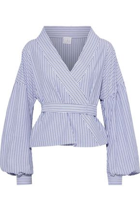 STELLA JEAN Belted striped cotton-poplin wrap blouse