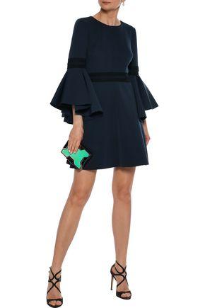 BADGLEY MISCHKA Crochet-trimmed ponte mini dress