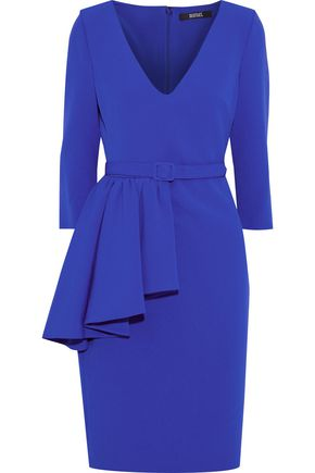 BADGLEY MISCHKA Belted ruffled stretch-crepe dress