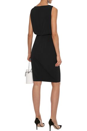 BADGLEY MISCHKA Zip-detailed embellished cady dress