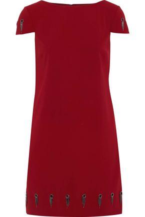 BADGLEY MISCHKA Eyelet-embellished cady mini dress
