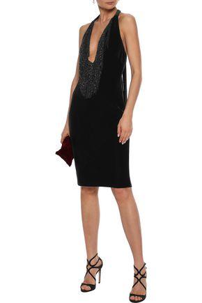 BADGLEY MISCHKA Beaded fringe-trimmed velvet halterneck dress
