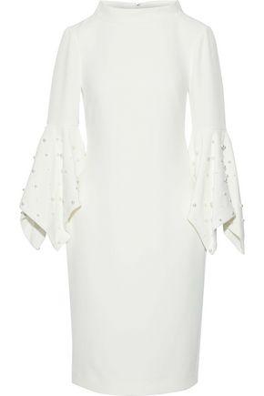 BADGLEY MISCHKA Faux pearl-embellished cady dress