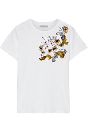 MARY KATRANTZOU Embellished cotton-jersey T-shirt