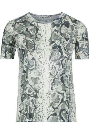 ACNE STUDIOS Tessa snake-print coated-jersey T-shirt