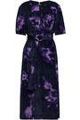 ALTUZARRA Belted printed velvet midi dress