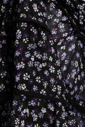 ALTUZARRA Tiered floral-print fil coupé silk-blend top