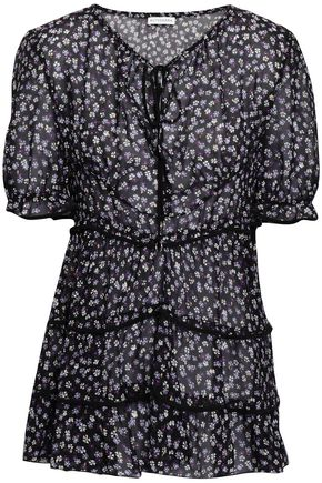 ALTUZARRA Tiered floral-print fil coupé silk-blend top