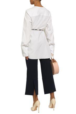 OSCAR DE LA RENTA Cotton-blend poplin blouse