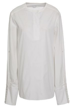 OSCAR DE LA RENTA Cotton-blend poplin blouse