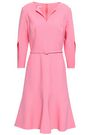 OSCAR DE LA RENTA Belted stretch-wool dress