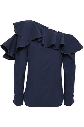 OSCAR DE LA RENTA One-shoulder ruffled stretch-silk blouse