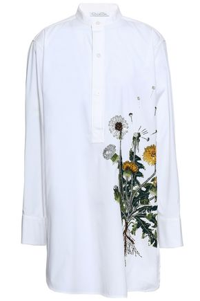 OSCAR DE LA RENTA Embellished cotton-blend poplin tunic
