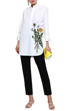 OSCAR DE LA RENTA Embellished cotton-blend poplin tunic