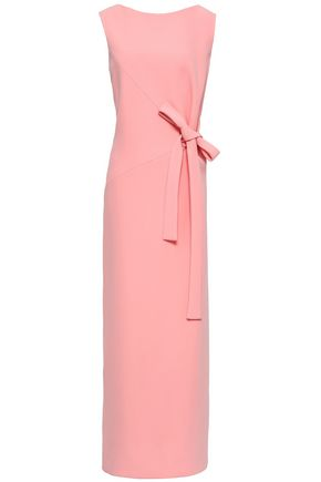 OSCAR DE LA RENTA Bow-embellished crepe gown