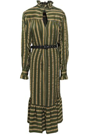 ALEXACHUNG Belted satin-jacquard midi dress