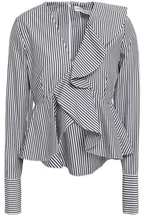 ROBERT RODRIGUEZ Ruffled striped cotton-poplin peplum top