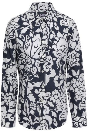 ALEXACHUNG Floral-print cotton-poplin shirt