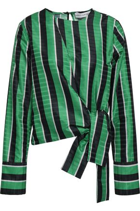 ROBERT RODRIGUEZ Knotted striped satin-jacquard blouse
