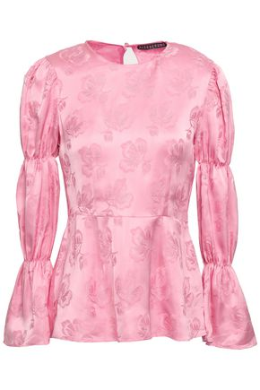 ALEXACHUNG Gathered satin-jacquard blouse