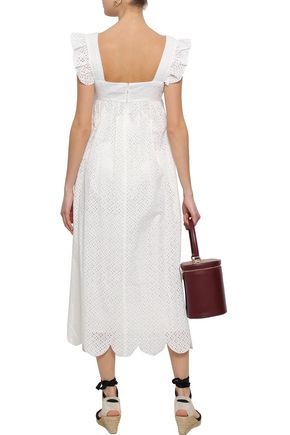 ALEXACHUNG Ruffle-trimmed broderie anglaise cotton midi dress