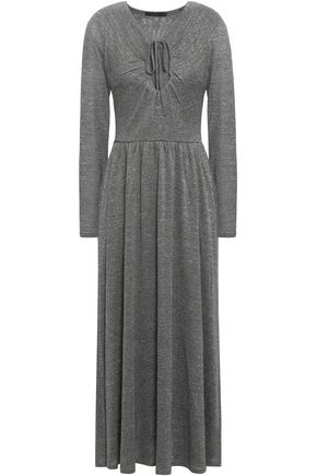 ALEXACHUNG Metallic stretch-knit midi dress