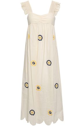 ALEXACHUNG Ruffle-trimmed embroidered cotton midi dress