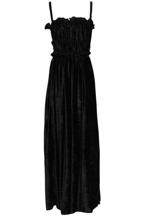 ALEXACHUNG Shirred cutout crushed velvet maxi dress