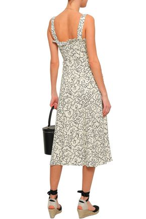 ALEXACHUNG Ruffled-trimmed printed crepe midi dress