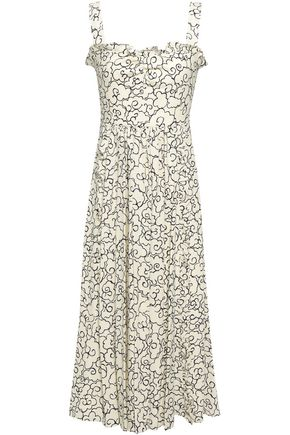 ALEXACHUNG Ruffled-trimmed printed crepe midi dress